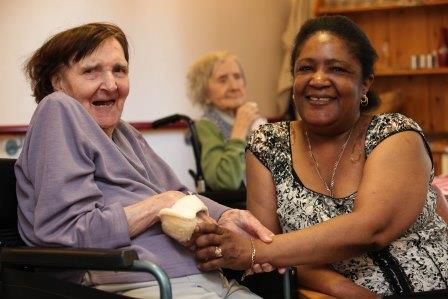 Carer and resident at Pat Shaw House