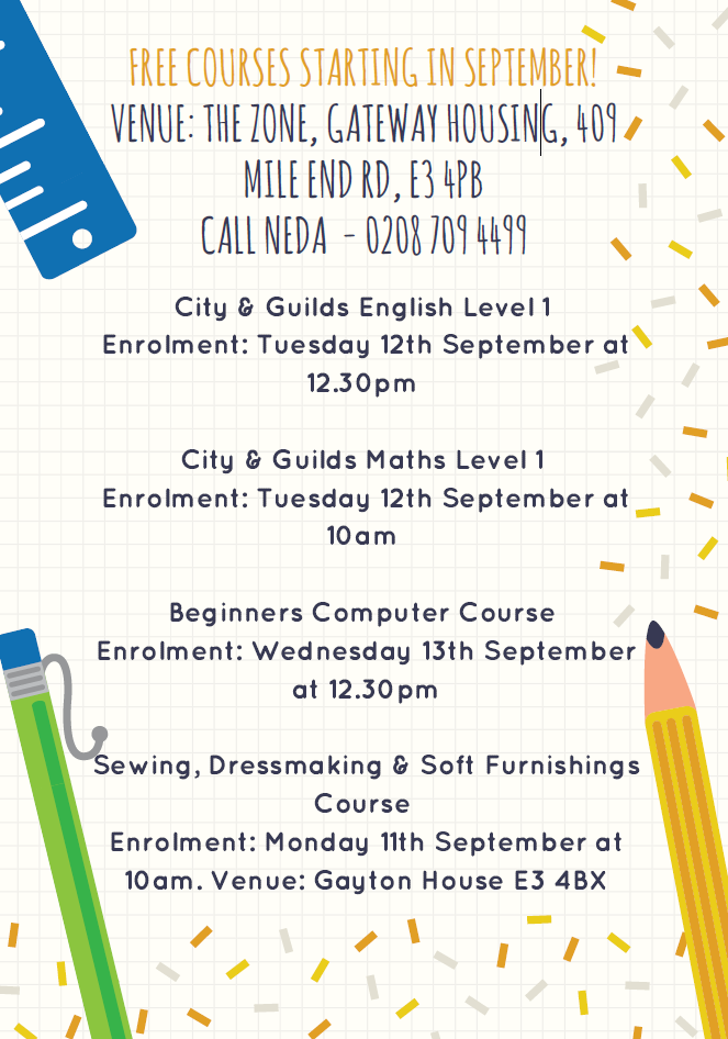 Free Courses starting in September!