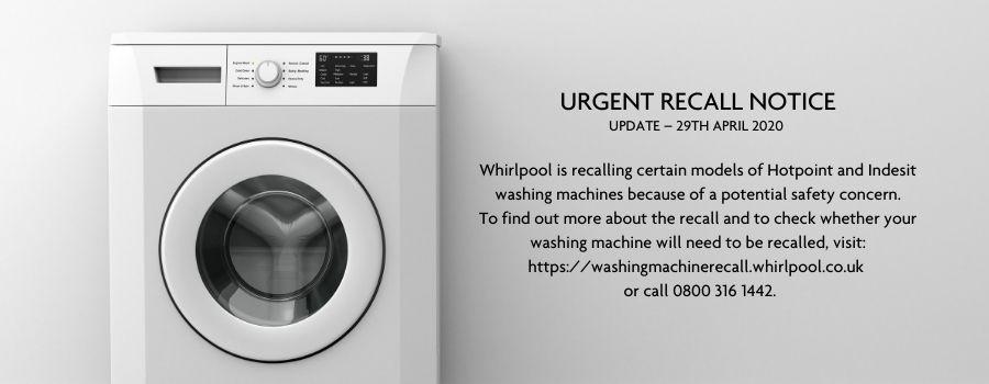 Whirlpool is recalling certain models of Hotpoint and Indesit washing machines because of a potential safety concern. To find out more about the recall and to check whether your washing machine will need to be recalled, visit: https://washingmachinerecall.whirlpool.co.uk  or call 0800 316 1442.