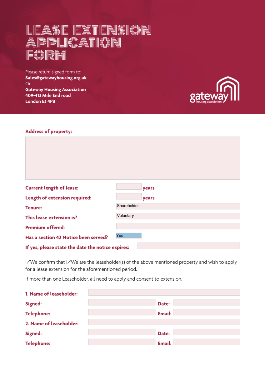 Lease Extension Application Form